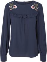 Vero Moda Navy Blazer Floral Mira Frill Top