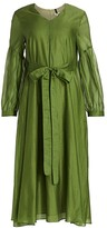 Max Mara Rive Puff-Sleeve Cotton & Silk Midi Dress