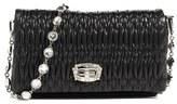 Miu Miu Small Crystal Embellished Leather Shoulder Bag - Black