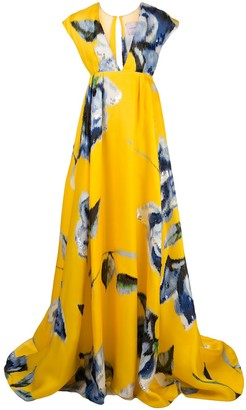 Carolina Herrera Floral-Print Long Gown