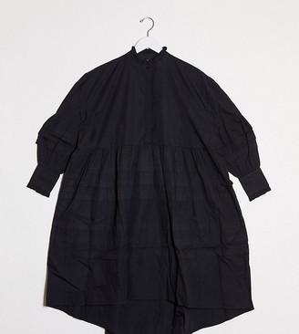 Y.A.S oversized midi shirt dress in black