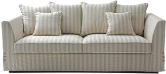 One World Natural Linen Stripe 3 Seat Sofa