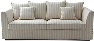 One World Natural Linen Stripe 3 Seat Sofa