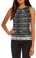 Calvin Klein Petites Windowpane Border Stripe Print Matte Jersey Pleat Neck Shell