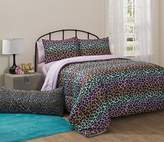 5 Piece Girls Rainbow Cheetah Print Theme Comforter Twin Set, Girly Leopard Wild Animal Bedding, Chic All Over Jungle Themed, Multi Color Ombre Pattern, Black Pink Orange Blue Yellow Green Teal