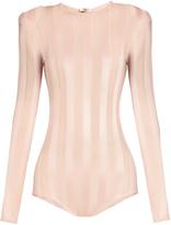 Balmain Striped mesh-knit bodysuit