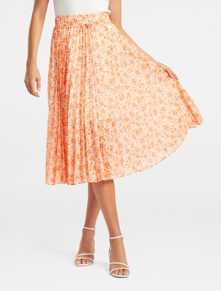 Forever New Alexis Pleated Georgette Skirt - Apricot Harvest Botanical - 10