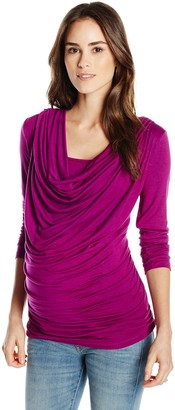 Everly Grey Women's Maternity Kristina Cowl Neck and Nursing Long Sleeve Top