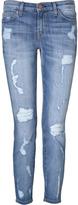 Current/Elliott Blue Shredded Stiletto Jeans
