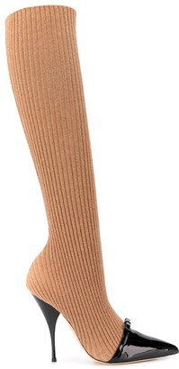Marco De Vincenzo Ribbed Knit Sock Boots