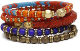 Vanessa Mooney Mixed African Glass Bangles - Red