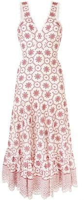 Alexis Linen Eyelet Detail Midi Dress