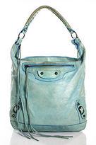Balenciaga Blue Leather Motocycle City Hobo Handbag Size Large