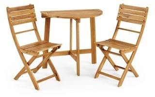 Christopher Knight Home Westmount Outdoor 2 Seater Half-Round Folding Acacia Wood Bistro Table Set