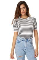 MinkPink Stripe Knit Tee Grey