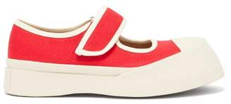 Marni Exaggerated Mary-jane Canvas Trainers - Womens - Red