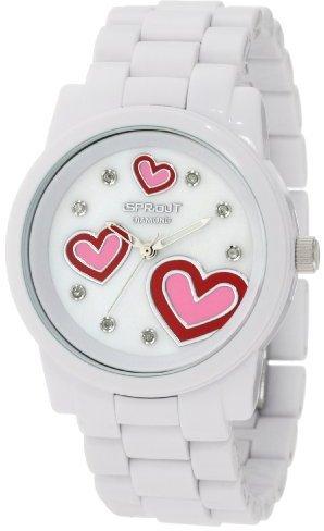 Sprout Women's ST/5038MPWT Diamond Dial Heart Theme White Corn-Resin Bracelet Watch