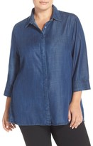 Foxcroft Plus Size Women's Tencel Denim Tunic Shirt