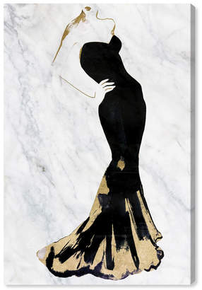 """Oliver Gal Gill Bay - Black Dress Gold and Marble Canvas Art, 16"""" x 24"""""""