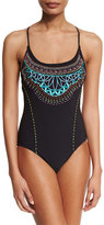 Nanette Lepore Mantra Goddess Embroidered One-Piece Swimsuit