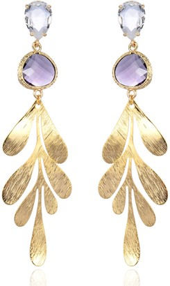 Eye Candy Los Angeles 14K Gold Plated Leaf Drop Earrings