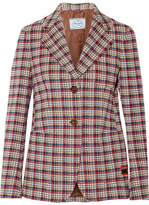 Prada Plaid Jacquard Blazer - Red