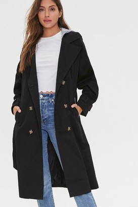 Forever 21 Hooded Double-Breasted Trench Coat