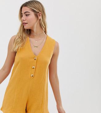 rhythm Camille cotton button front beach romper in marigold-Yellow