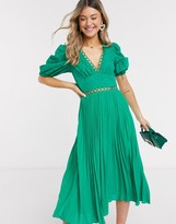 Asos DESIGN broderie pleated midi tea dress with puff sleeve in emerald green