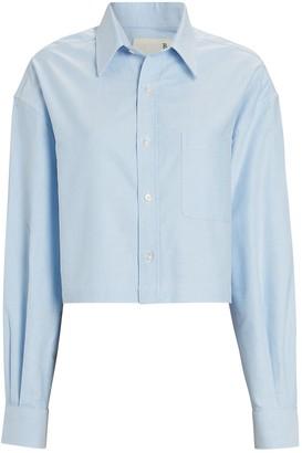 R 13 Cropped Cotton Button-Down Shirt