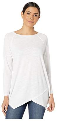 Lilla P Crossed Front Boat Neck Top (White) Women's T Shirt