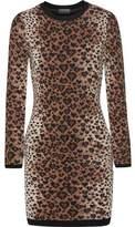 RED Valentino Leopard-Print Wool-Blend Mini Dress