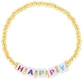 Sphera Milano 14K Yellow Gold Plated Sterling Silver 'HAPPY' Ball Beaded Bracelet