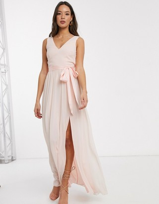 Little Mistress v neck chiffon maxi dress in pearl pink