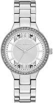 Liz Claiborne Womens Crystal-Accent Cutout Dial Silver-Tone Bracelet Watch