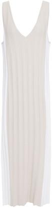 Autumn Cashmere Two-tone Stretch-knit Midi Dress