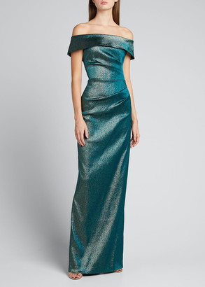 Rickie Freeman For Teri Jon Metallic Jacquard Off-Shoulder Draped Column Gown