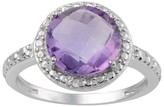 Journee Collection 2 1/3 CT. T.W. Round-Cut Cubic Zirconia Basket Set Halo Ring in Sterling Silver - Purple