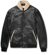 Oliver Spencer Bedford Shearling-Trimmed Leather Bomber Jacket
