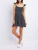 Charlotte Russe Polka Dot Smocked Skater Dress