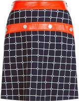 Courreges Navy & Orange Vinyl Buttoned Skirt