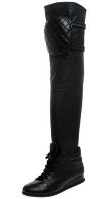 Chanel Black Quilted Leather Knee Length Boots Size 37.5