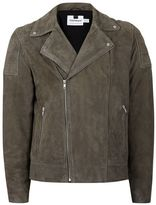 Topman Brown Suede Quilted Shoulder Biker Jacket