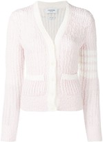 Thom Browne striped sleeve boucle knit cardigan
