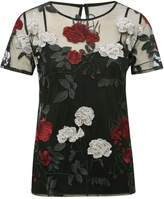 M&Co Sheer floral embroidered top