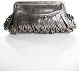 Katherine Kwei Silver Metallic Fringe Detail Leather Clutch Handbag New