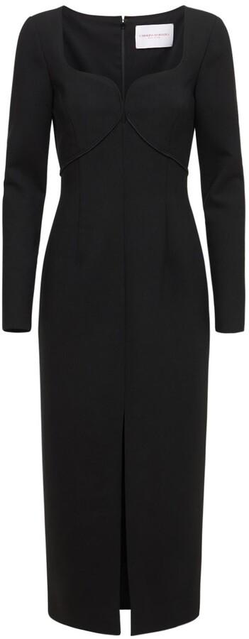 Carolina Herrera Stretch Double Wool Dress W/ Front Slit