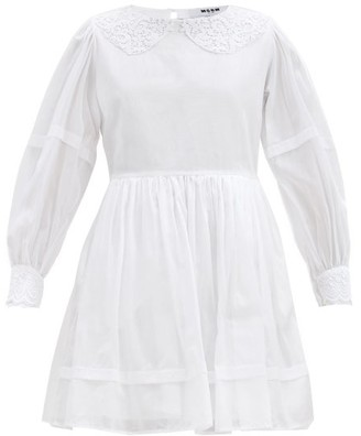 MSGM Broderie Anglaise-trimmed Cotton Dress - White