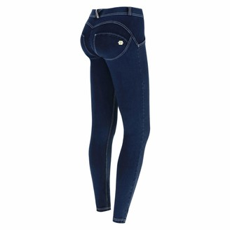 Freddy WR.UP Regular-Rise Skinny-fit Trousers in Denim-Effect Jersey - Dark Jeans-White Seams - Large