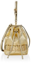Moschino Embellished Metallic Leather Bucket Bag